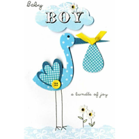 Blue Stork Greeting Card