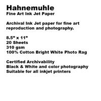 PHOTO PAPER HAHNEMUHLE INKJET RAG BRIGHT WHITE